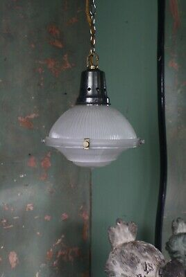 Small Holophane Lanterns Antique Lights Pendants Industrial Salvage