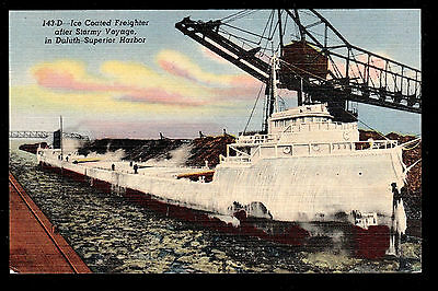 vintage ship Ice Coated Freighter Duluth-Superior harbor Great Lakes postcard