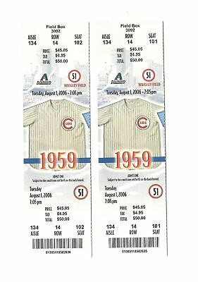 Chicago Cubs Vs Arizona Diamondbacks Unused Baseball Tickets From 8/1/2006