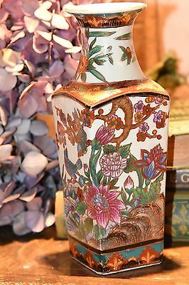 """Asian Chinese Vase Hand Painted Accents Gold Gilt Bird Porcelain 8"""" H"""