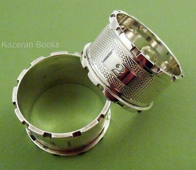 Pair Vintage Engine Turned Solid Silver Castellated Serviette Napkin Rings 1934