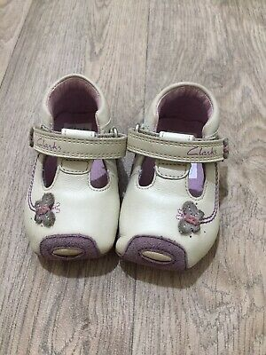 8823dd242 Infant Girls Soft Leather Clarks First Shoes Cream Purple Size 2 G (17.5)