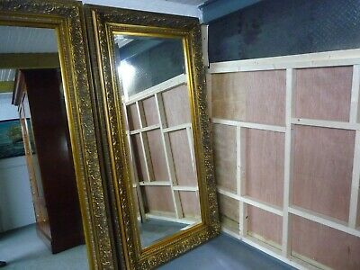 Extra Large French Antique Style Gold Gilt Free Standing Bevelled Ornate Mirror