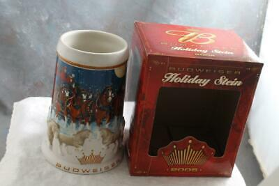 2005 Budweiser Holiday Stein Annual Clydesdale Christmas Beer Mug with Box