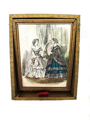 Antique Wood Jewelry Box with Mirror and French Fashion Picture Jules David