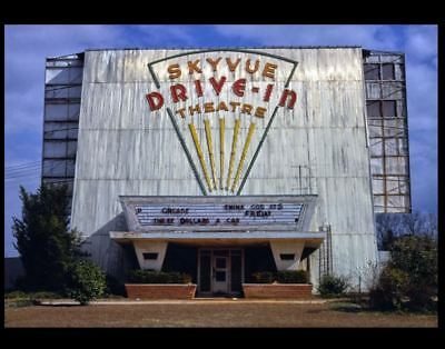 Vintage Skyvue Drive-In Movie Theater PHOTO 1970s Alabama Classic Screen GREASE
