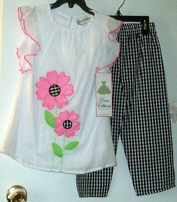 3855a5588 New Rare Edition Summer Pants Set, White, Pink, Black/White Gingham SZ