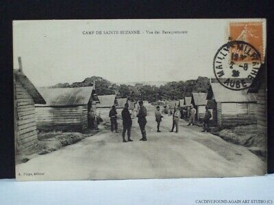 WWI Soldiers Barracks French Postcard Camp De Sainte-Suzanne France WW1 War Old