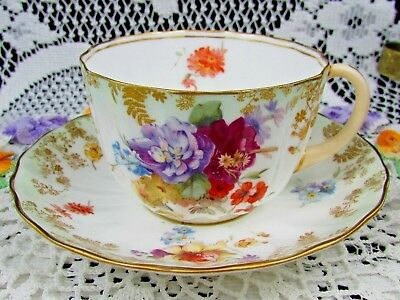 Doulton Burslem Gold Trailing Flowers Purple Floral Tea Cup And Saucer