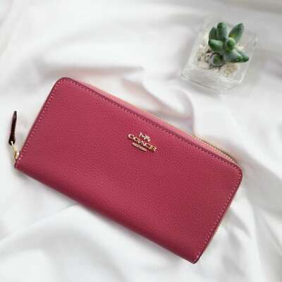 NWT Coach Pebbled Leather Accordion Zip Wallet F16612 Strawberry $250