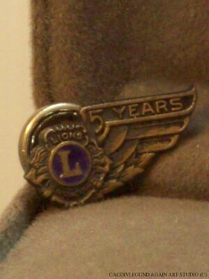 Lions Club Sterling Silver 5 Years Award Pin Vintage Wing Screw Back Badge Lapel