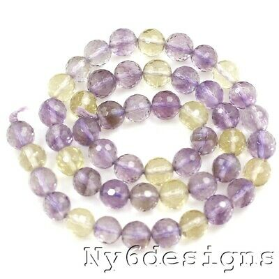"8x8mm Natural Amethyst & Citrine Ametrine Faceted Round Spacer Beads 15""(AT102)b"