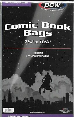 (200) Bcw Silver Age Comic Book Size Bags / Covers With Free Shipping