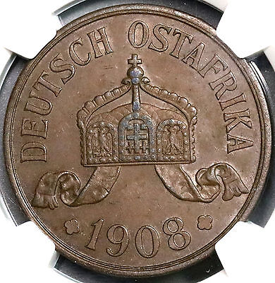 1908-J NGC AU 55 German East Africa 5 Heller Colony Large Coin (18100203CZ)