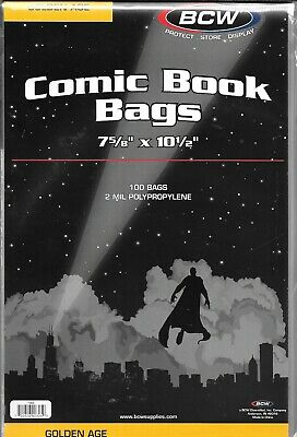 (200) Bcw Golden Age Comic Book Size Bags / Covers With Free Shipping