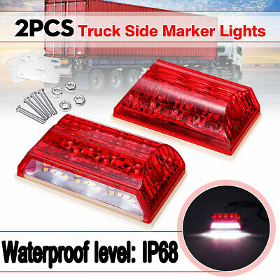 2X Red 20 LED Clearance Light Marker Tail Turn Signal Brake Lamp 24V Waterproof