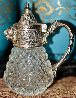 Antique Glass Diamond Block & Silver Plate Syrup Pitcher Figural Lion Spout