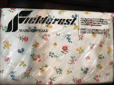 NIP Vintage Fieldcrest No Iron Percale CA King Fitted Floral Sheet USA