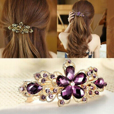 Women Metal Crystal Bow Knot Barrette Flowers Hairpin Hair Clip Rhinestone