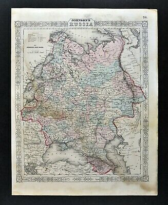 1864 Johnson Map Russia Finland Poland Latvia Estonia Ukrane Moscow Petersburg