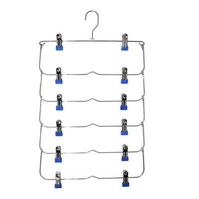 Family Heavy Duty 6 Tiers Skirt Pants Clothes Hanger Metal Foldable Organizers