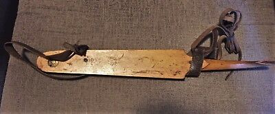 Antique Wood Ruite Dutch Ice Skate with Original Leather Straps, Winter Sports