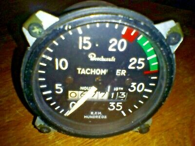 Vintage Reechcraft Aircraft Tachometer And Hour Gauge Great Condition