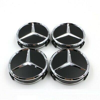 For 4PCS Mercedes- Benz 75mm Matte Black Wheel Center Hub Cap Badge Emblem