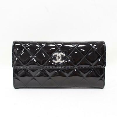 8021b8f91898 Authentic CHANEL Matelasse Brilliant Zip Long Wallet Purse Patent Leather  Black