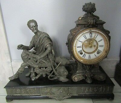 Antique 1800's Ansonia Cincinnatus Figural Ornate Cast Metal Mantel Clock
