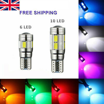 T10 501 W5W Car Side Light Bulbs Error Free Canbus 6/10Smd Led Xenon Hid White