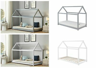 Birlea Childrens House Frame 3ft Single Bed - Solid Pine - Grey or White
