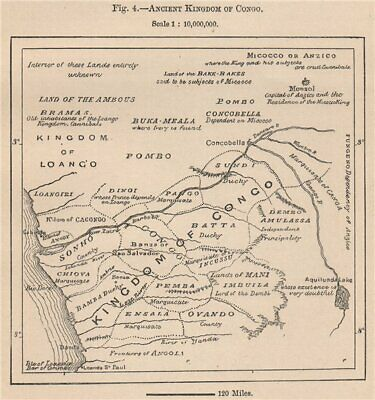 Ancient Kingdom of Kongo. Congo. Africa. Angola 1885 old antique map chart