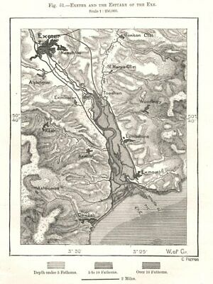 Exeter and the estuary of the Exe. Exmouth. Devon. Sketch map 1885 old