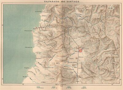 Valparaiso and Santiago. Chile 1885 old antique vintage map plan chart