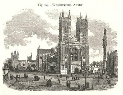 Westminster Abbey. London 1885 old antique vintage print picture