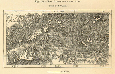 The Passes over the Alps. Switzerland & Italy. Sketch map 1885 old antique