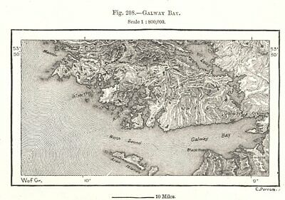 Galway Bay. Ireland. Sketch map 1885 old antique vintage plan chart