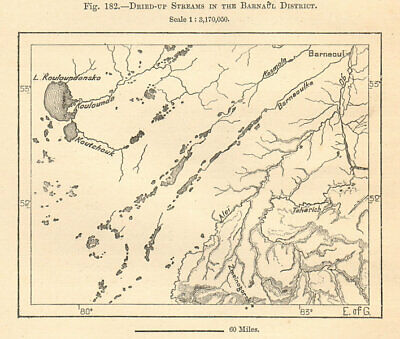 Barnaul District. Lake Kulundinskoye, Siberia, Russia. Sketch map 1885 old