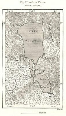 Lake Peipus. Estonia. Sketch map 1885 old antique vintage plan chart