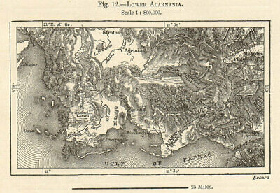 Lower Acarnania. Greece sketch map. Gulf of Patras 1885 old antique chart