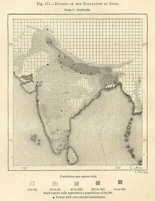Density of the Population in India. Sketch map 1885 old antique plan chart