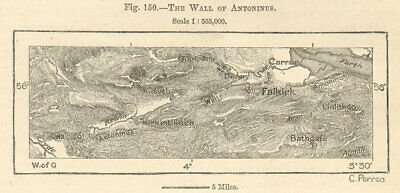 Wall of Antoninus. Antonine Wall. Clyde-Forth. Scotland. Sketch map. SMALL 1885