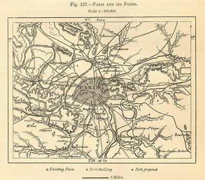 Paris and its Forts. Sketch map 1885 old antique vintage plan chart