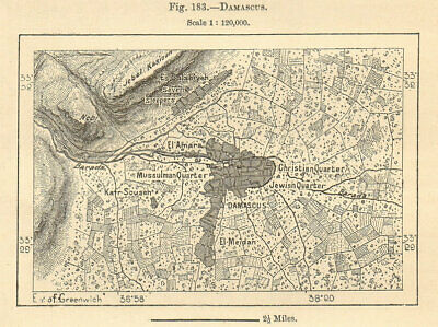 Damascus city plan. Syria. Sketch map 1885 old antique vintage chart