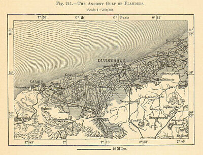 Ancient Gulf of Flanders. Dunkirk Calais St Omer France. Sketch map 1885