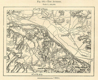 The Authion. Angers Saumur. Maine-et-Loire Anjou Touraine. Sketch map 1885