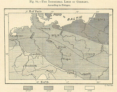 The Isothermal Lines of Germany. Sketch map 1885 old antique plan chart