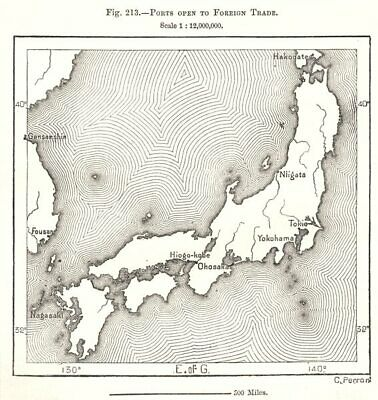 Ports open to Foreign Trade. Japan. Sketch map 1885 old antique plan chart
