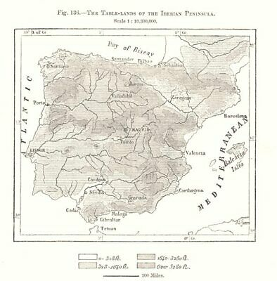 The Table-lands of the Iberian Peninsula. Spain. Sketch map 1885 old